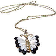 Native American Zuni Jia Beyuka Sterling Silver Mother of Pearl Jet Onyx Inlay Butterfly Pendant Necklace