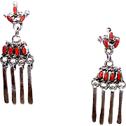 Vintage Native American Zuni Sterling Silver Mediterranean Coral Petit Point Pierced Dangle Earrings