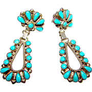 Old Pawn Zuni Sterling Silver Sleeping Beauty Mine Turquoise Dangle Statement Earrings