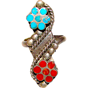 Vintage Old Pawn Native American Zuni Dishta Sterling Silver Sleeping Beauty Mine Turquoise Coral Floral Flower Ring Size 5.5 Mosaic Inlay