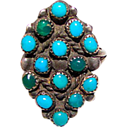 Vintage Old Pawn Native American ZUNI Sterling Silver Cerillos Mine Turquoise Statement Ring Size 5 Snake Eye Design