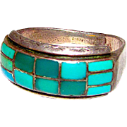 Native American Old Pawn Zuni Sterling Silver Turquoise Ring Size 9