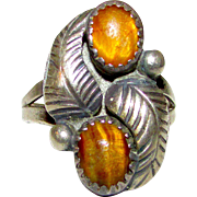 Vintage Old Pawn Native American Navajo Sterling Silver Tiger Eye Stone Statement Ring Size 6 Squash Blossom Design