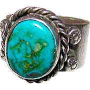 Vintage Old Pawn Native American Navajo Sterling Silver Bisbee Mine Turquoise Statement Ring Size 5.5 by Highly Collectible James Mason