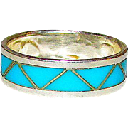 Native American Zuni Old Pawn Sterling Silver Sleeping Beauty Mine Turquoise Inlay Ring Band Size 6