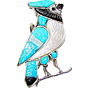 Vintage Zuni Sterling Silver Turquoise MOP Jet Inlay Blue Jay Bird Brooch/ Pin Pendant Figural Brooch Whimsical Pin