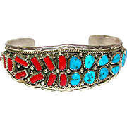 Vintage Old Pawn Navajo Sterling Silver Kingman Mine Turquoise Mediterranean Coral Cuff Bracelet Native American. Signed