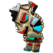 Old Pawn Native American Zuni Sterling Silver Turquoise Coral Mop Jet Rainbow Man Yei Inlay Ring in Size 5