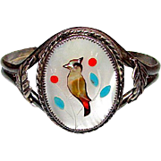 Old Vintage Native American Zuni Bird Inlay Cuff Bracelet Sterling Coral MOP Shell Turquoise Inlay