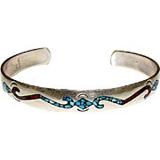 Vintage Native American Navajo Old Pawn Sterling Silver 925 Turquoise Coral Chip Inlay Etched Design Cuff Bracelet