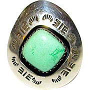 Vintage Native American Navajo Sterling Silver Carico Lake Mine Green Turquoise Ring Sz 7 Shadow Box Design by Collectible Teddy Goodluck