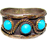 Native American Navajo Old Pawn Sterling Silver 925 Turquoise Band Ring Band Size 8