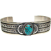 Native American Navajo Sterling Silver Number 8 Spiderweb Turquoise Cuff Bracelet Hand Etched Design by Highly Collectible Donovan Cadman