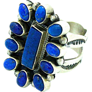Navajo Sterling Silver Lapis Lazuli Adjustable Cluster Ring