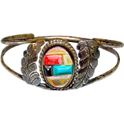 Old Pawn Navajo Sterling Silver Turquoise Coral Mother Or Pearl Cuff Bracelet Cobblestone Design Old Rare Piece