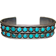 "Old Pawn Native American Zuni Sterling Silver Cerrillos Mine Turquoise Cuff Bracelet ""Snake Eyes"" Design 50 grams"