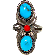 Old Pawn Navajo Sterling Silver Turquoise Coral Ring Size 7.5 Squash Blossom Design Vintage Native American