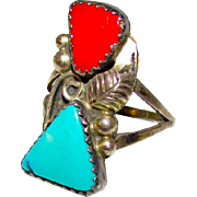 Old Pawn Navajo Sterling Silver Turquoise Coral Ring Size 7 Squash Blossom Design Vintage Native American Ring