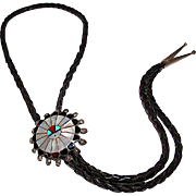 Zuni Sunface Bolo Tie Sterling Silver Turquoise Coral Mother of Pearl Inlay Vintage Old Pawn Bolo Tie