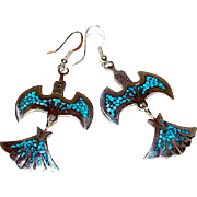 Navajo Charlie Singer Sterling Silver Chip Turquoise Inlay Peyote Bird Thunderbird Pierced Dangle Earrings