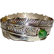 Navajo Sterling Silver Carico Lake Mine Green Turquoise Bangle Bracelet Squash Blossom Design by Highly Collectible Ben Begay