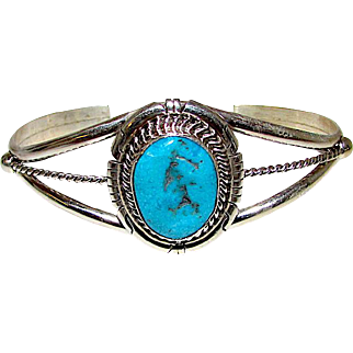Vintage Native American Navajo Sterling Silver Turquoise Cuff Bracelet Traditional Design Signed