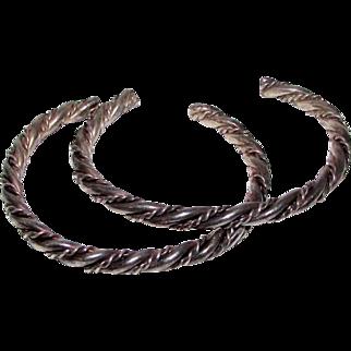 Old Pawn Navajo Sterling Silver Guard Bracelets Set of 2 Stackable Bracelets Twisted Rope Design