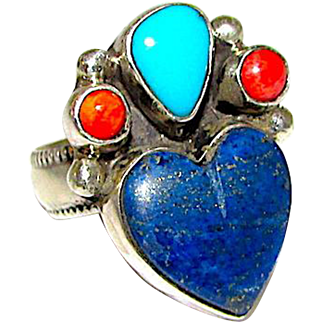 Native American Navajo Sterling Silver Lapis Lazuli Turquoise Coral Ring Size 6 by the Highly Collectible Artists Vernon & Clarissa Hale