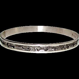 Navajo Sterling Silver Bangle Bracelet Story Teller Design Native American Bangle Signed by the Artist Elaine Becenti