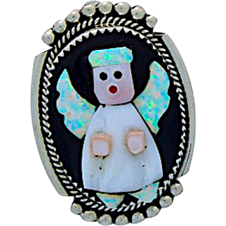Vintage Native American Zuni Opal Jet Inlaid Guardian Angel Christmas Pin Pendant Signed by the Artist