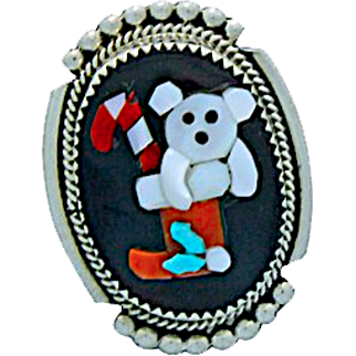 Vintage Native American Zuni Mother of Pearl, Coral, Turquoise Jet Inlaid Teddy Bear Christmas Pin Pendant Signed by the Artist
