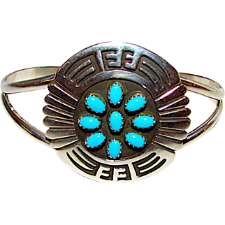 Native American Navajo Sterling Silver Turquoise Statement Cuff Bracelet Tribal Design by the Highly Collectible Navajo Artist Rosco Scott