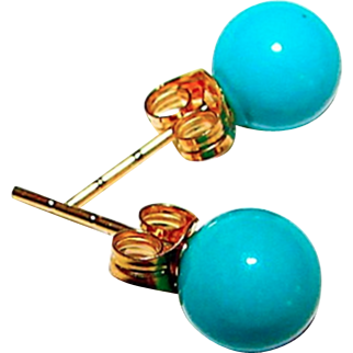 14K Gold 5mm Turquoise Post Earrings Estate Vintage Jewelry