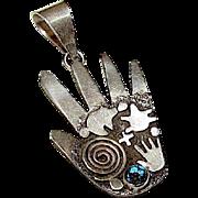 Native American Navajo Alex Sanchez Sterling Silver Kingman Turquoise Healing Hand Petroglyph Design Large Statement Pendant