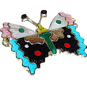 Vintage Zuni Sterling Silver Turquoise Coral Mother of Pearl Jet Malachite Inlay Butterly Pin Pendant Collectible Tamara Pinto