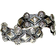 """Native American Navajo Sterling Silver Pierced 1"""" Hoop Earrings Hand Stamped Design"""