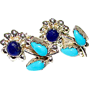 Vintage Zuni Sterling Silver Turquoise Lapis Lazuli Flower Earrings Hand Etched Native American Jewelry