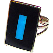 Native American Zuni Sterling Silver Turquoise Black Onyx Jet Inlay Ring in Size 7.5 by Harlan Coonsis