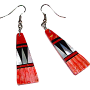 Native American Santo Domingo Sterling Red Spiny Oyster Jet Mother of Pearl Accented Dangle Earrings