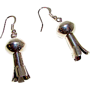 Vintage Navajo Sterling Silver Turquoise Squash Blossom Pierced Hoop Dangle Statement Earrings