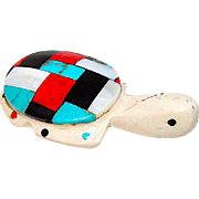 Zuni Turtle Fetish Hand Carved White Picasso Marble Cheryl Beyuka Turquoise Coral MOP Accents