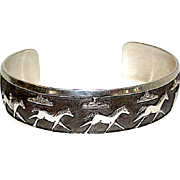 Native American Navajo Sterling Silver Running Horse Wild Mustangs Design Cuff Bracelet Hand Etched Native American Jewelry Signed