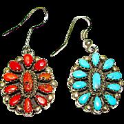 Native American Navajo Sterling Silver Mediterranean Coral Sleeping Beauty Turquoise Reversible Pierced Dangle Statement Earrings