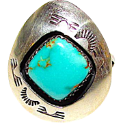 Vintage Native American Navajo Sterling Silver Pilot Mountain Mine Turquoise Ring Sz 8.5 Shadow Box Design by Collectible Teddy Goodluck