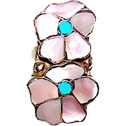 Vintage Zuni Sterling Silver Sleeping Beauty Turquoise Mother of Pearl Inlay Flower Ring Size 6 Mosaic Inlay