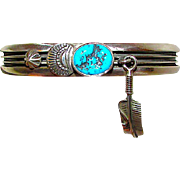 Navajo J King Sterling Silver Kingman Mine Turquoise Cuff Bracelet with Feather Charm