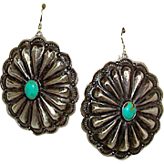 Native American Navajo Sterling Silver Green Carico Lake Turquoise Concho Design Pierced Dangle Statement Earrings