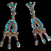 Zuni Sterling Silver Sleeping Beauty Mine Turquoise Dangle Statement Chandelier Earrings Snake Eye Design