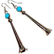 Vintage Native American Navajo Sterling Silver Turquoise Squash Blossom Pierced Dangle Statement Long Earrings