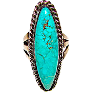 Native American Navajo Sterling Silver Turquoise Statement Ring Size 6.5 by Collectible Navajo Artist Stan Slim